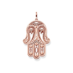 Sterling Silver Rose Gold Plated Hamsa Hand Pendant - PE731-416-14