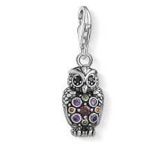 925 Sterling Silver Blackened Multicolor Cubic Zirconia Sparkling Owl Charm Pendant with Lobster Clasp 1479-643-7