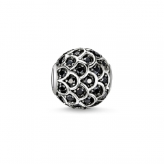 Brand Jewelry Sterling Silver Black Cubic Zirconia Bead
