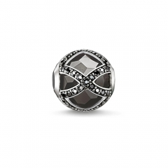 Custom Jewelry Sterling Silver Black CZ and Black Crystal Maharani Bead K0131-641-11