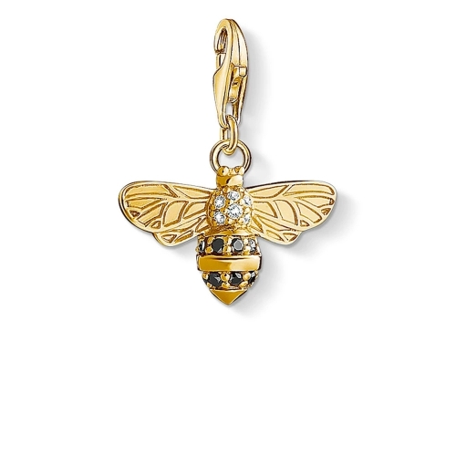 925 Sterling Silver 18K Gold Plated Cubic Zirconia Bee Charm Pendant 1449-414-39